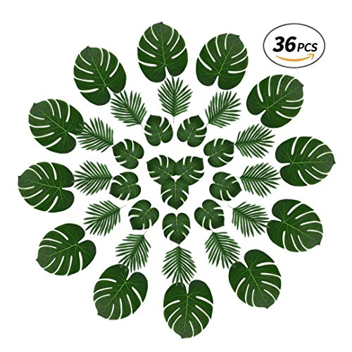 Tropical Palm Leaves and Butterfly Palm,36 Pcs Reusable Fake Leaves with Variety of Sizes for Jungle Themed Party,Havana Nights,Baby Shower Decor,Luau Table Decor (Green1) by Yaoyuan