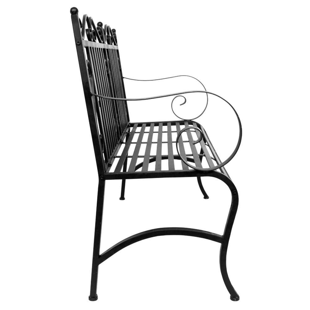 Outdoor Double Seat, Foldable Metal Antique Garden Bench, Folding Outdoor Patio Chair, Decorative Outdoor Garden Seating, Park Yard Bench with Decorative Cast Iron Backrest by CargoTi (Image #3)