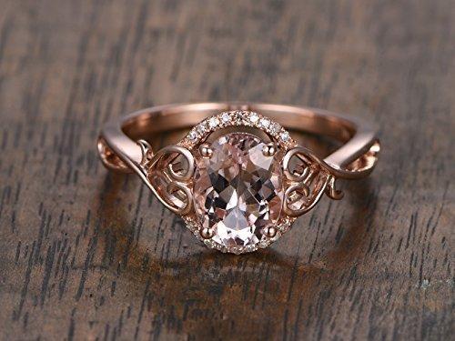 Morganite Engagement Ring Oval Cut 6x8mm VS Gemstone SI I-J Diamond 14k Rose Gold,Floral Shank,Twisted Ring,Bridal Ring,Wedding Ring by Myraygem