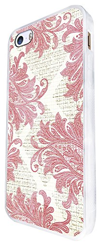 1438 - Cool Fun Trendy Cute Shabby Chic Flowers Roses Daisy Flora Damask Wallpaper Design iphone SE - 2016 Coque Fashion Trend Case Coque Protection Cover plastique et métal - Blanc