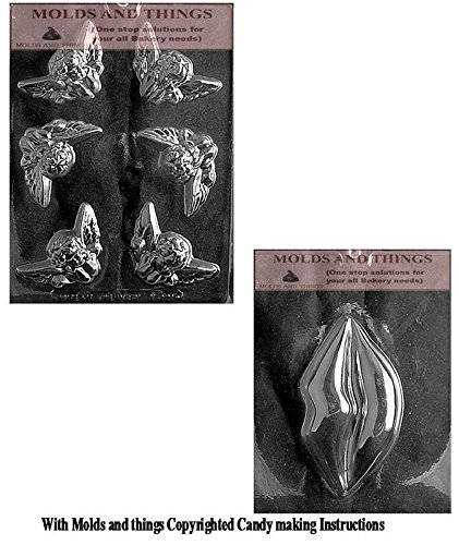 Valentines Day chocolate candy mold BUNNY ON HEART POUR BOX Chocolate Candy mold & Large Lips Chocolate Candy Mold With Copywrited Candy Making Instruction