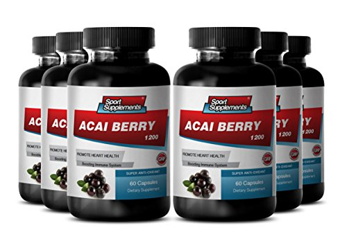 Pure Herbal Complex - Acai Fruit (4:1) Concentrate 1200mg - Boost Energy Levels, Improves Digestive Function, and Mental Focus - Strong Anti-aging Benefits (6 Bottles 360 Capsules) by Sport Supplement