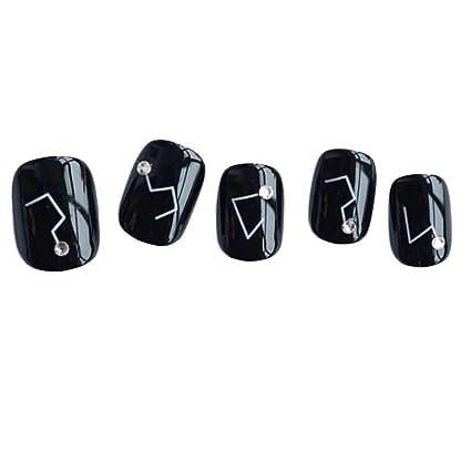 Constellation - uñas cortas negras falsas uñas artificiales decoración consejos de uñas