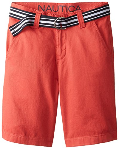 Nautica Big Boys' Belted Flat Front Short, Ruby, 18 (Ruby Belted Belt)
