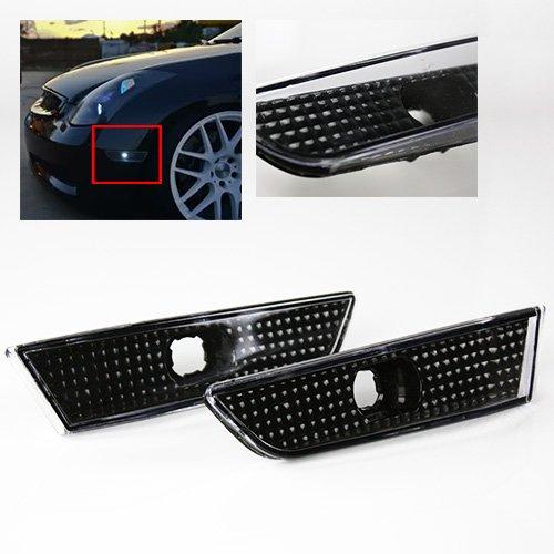Side Headlight Coupe - ModifyStreet Euro Black Side Marker Lights bumper fender lights for 03-07 Infiniti G35 Coupe