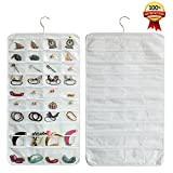 Realdios NonWoven Hanging Closet Accessory Jewelry Holder Organizer(80pocket-White)