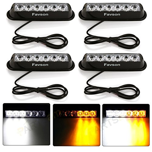 Favson 6 LED Strobe Lights for Trucks Cars Van with Super Bright White&Yellow Emergency Flasher(4 pcs)