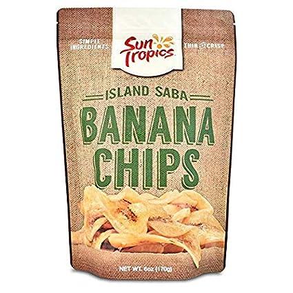 suntropics sin gluten Isla Saba plátano chips, Original, 6 ...
