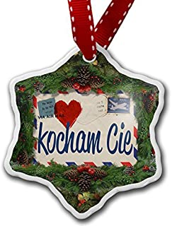 Monsety Divertente ornamenti di Natale per bambini i Love you Polish Love Letter from Print from Poland vacanza albero di Natale ornamenti decorazioni regali