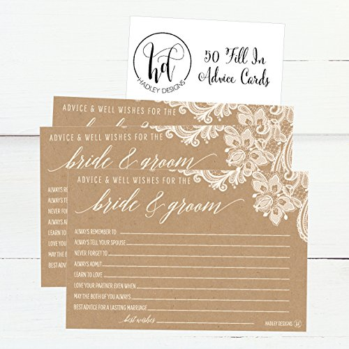 50 4x6 Kraft Rustic Wedding Advice & Well Wishes For The Bride and Groom Cards, Reception Wishing Guest Book Alternative, Bridal Shower Games Note Card Marriage Best Advice Bride To Be or For Mr & Mrs Photo #4
