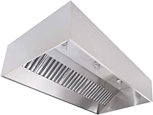 "Commercial Kitchen Restaurant Duty Exhaust Hood, Wall Canopy Stainless Steel Exhaust Hood with Baffle Hood Filters, High Temperature Light Fixtures, and 14"" Round Exhaust Riser (9' Long Hood)"