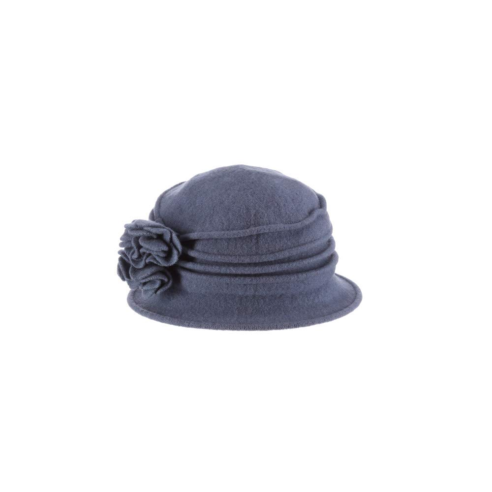 779f27eb5 Scala Women's Boiled Wool Cloche with Rosettes