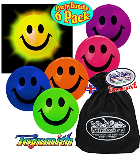 Toysmith Light-Up Smiley Face Happy Balls Gift Set Party Bundle with Exclusive Matty's Toy Stop Storage Bag - 6 Pack]()