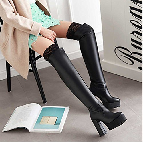 CHFSO Womens Elegant Lace Solid Round Toe Pull On Above The Knee Chunky High Heel Platform Boots Black 30fBGrW