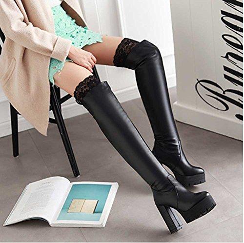 Chfso Womens Elegant Kant Stevige Ronde Neus Pull Op Boven De Knie Stevige Hoge Hak Platform Laarzen Zwart