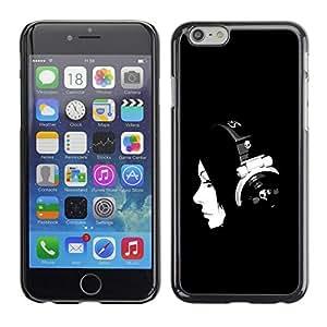 LECELL -- Funda protectora / Cubierta / Piel For Apple iPhone 6 -- Beautiful Dj Girl Woman B&W --