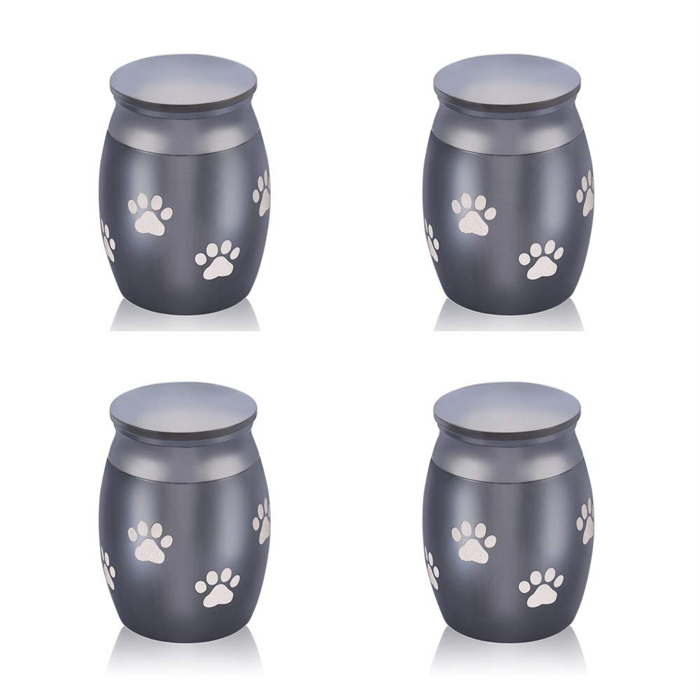 Black Pet PawSmall Cremation Urns Set of 4  Mini Keepsake Tree of Life Funeral Urn for Human Pet Ashes Silver Tone