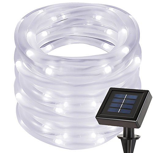 LE 33ft 100 LED Solar Power Rope Lights, Waterproof Outdoor, 6000K, Daylight White, Portable, Light Sensor, Decoration for Christmas Tree, Thanksgiving, Wedding, Party, Garden, Lawn, Patio (Solar Tube Led)