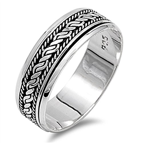 Rope Spinner Ring - Prime Jewelry Collection Sterling Silver Women's Bali Rope Spinner Ring (Sizes 6-13) (Ring Size 6)