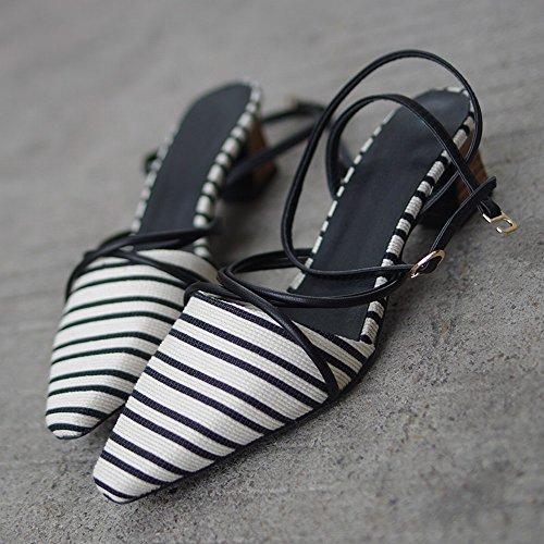 Épais des Vintage DHG avec Rayé 35 Romain Chaussures Baotou Noir Fées de qnIwITaU
