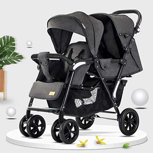 TZZ Double Stroller Foldable with Adjustable Backrest and with 5-Point Safety System Twin Tandem Baby Stroller (Color : Gray2)