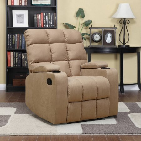 Handy Living ProLounger Storage Arm Cup Holder Wall Hugger Microfiber Recliner Brown Review