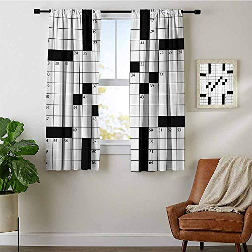 GugeABC Word Search Puzzle Curtains for Living Room by,Blank Newspaper Style Crossword Puzzle with Numbers in Word Grid, Bedroom Curtains 2 Panel Sets W56 x L63 Black and White ()