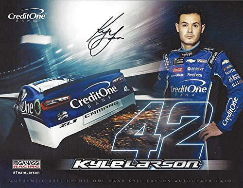 AUTOGRAPHED 2018 Kyle Larson #42 Credit One Bank Chevy Camaro Team (Chip Ganassi Racing) Monster Energy Cup Series Picture 9X11 Inch Signed NASCAR Collectible Hero Card Photo with COA