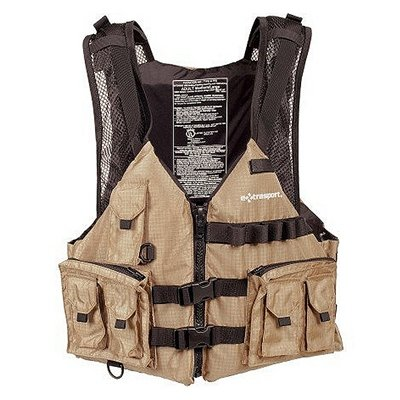 Extrasport Osprey Canoe/Kayak Rafting Fishing Personal Flotation Device/Life Jacket, Khaki/Black, X-Small/Small