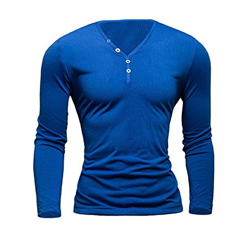 CloSoul Direct Men's Basic Casual T-Shirt Premium Soft Cotton Long Sleeve V-Neck Raglan Slim Fit Henley Shirt (Cotton V-neck Football Tee)