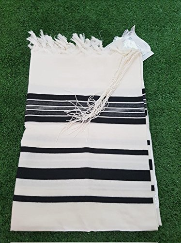 100% Wool Tallit Prayer Shawl in Black Stripes Size 18