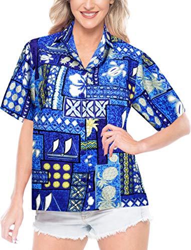 LA LEELA Likre Camp Aloha Beach Top Shirt Bright Blue 137|XXL - US 44 - 48C ()