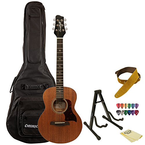Sawtooth Mahogany Series Solid Mahogany Top Acoustic-Electric Mini Jumbo Guitar with Hard Case and Accessories