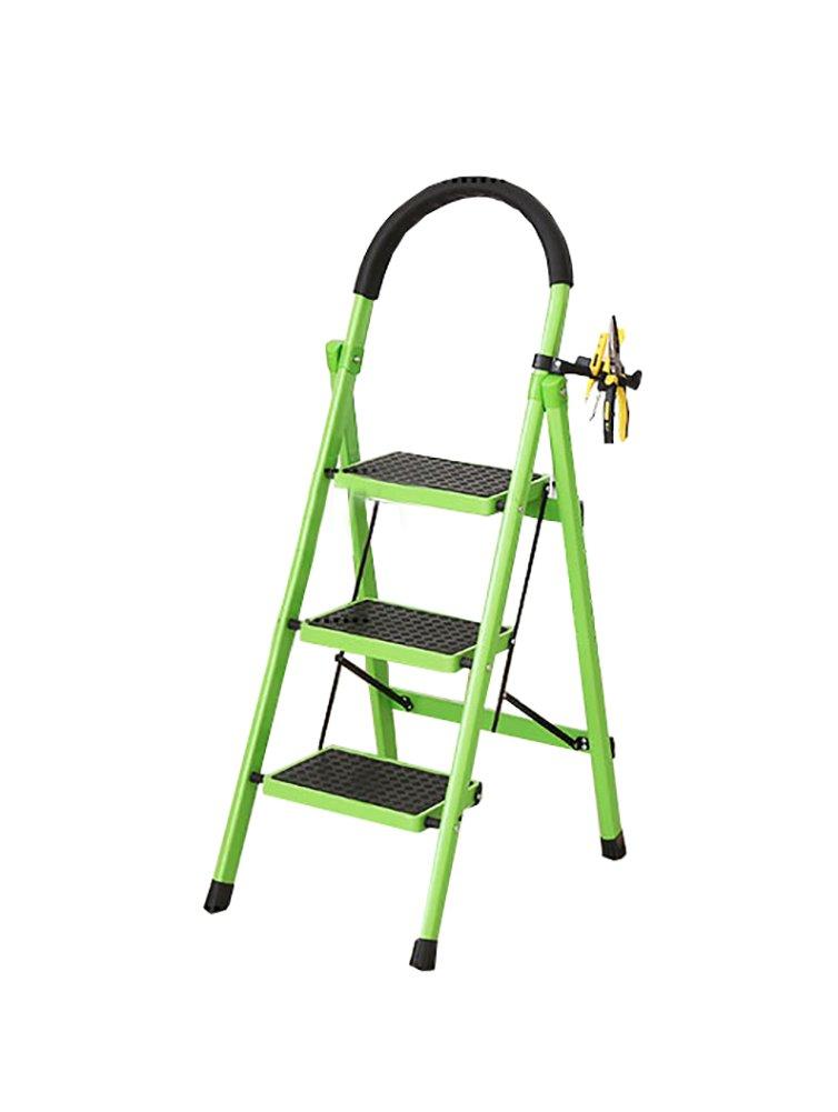 YXX- 3ハンドル&ノンスリップトレッド付きラダーステップスツール大人用アウトドアヘビーデューティー折りたたみステップステツプ/踏み台/フットスツール (色 : 緑) B07F25SLD2 緑 緑