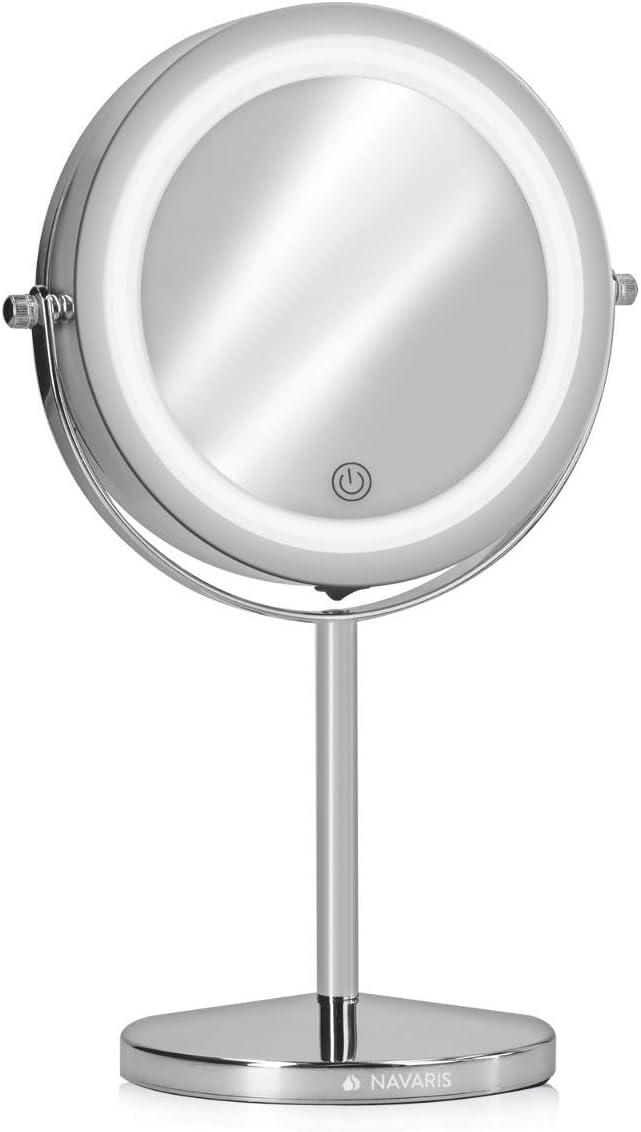Plateado Espejo de tocador Giratorio 360/° Espejo de Doble Cara con Aumento 1x y 5X Navaris Espejo de Maquillaje con luz y Aumento