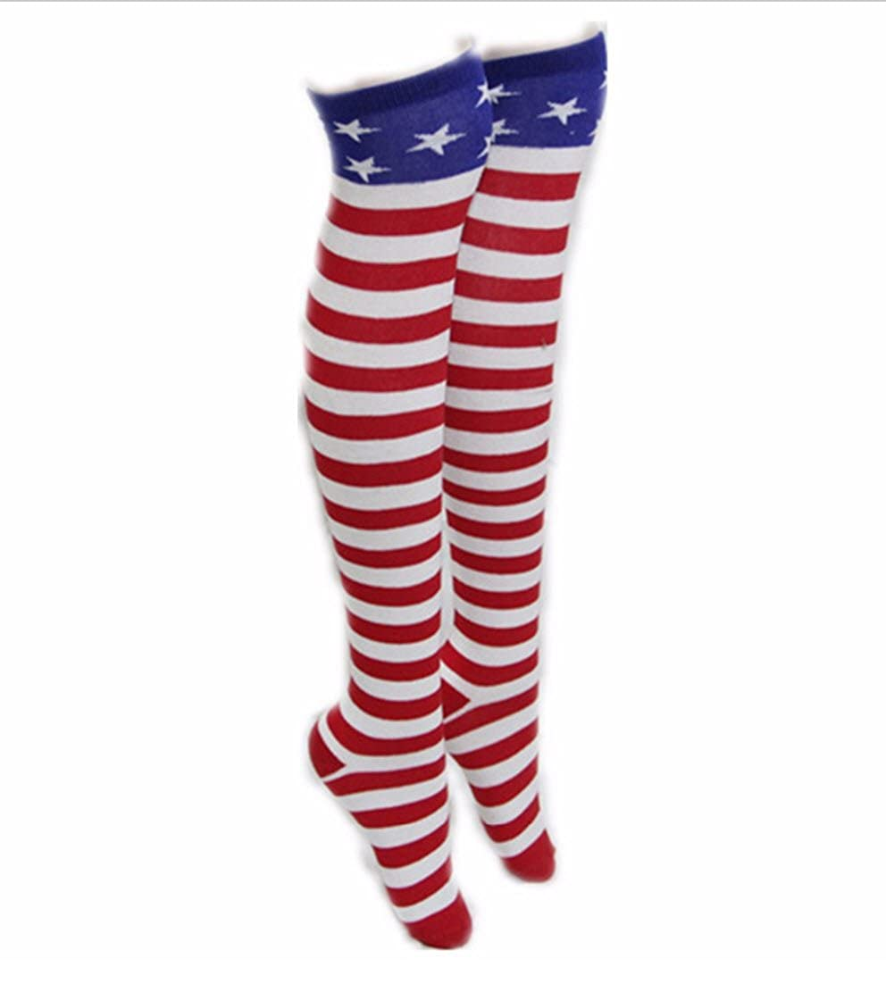 c46eefbe0 Amazon.com  Rush Dance Unisex Adult Knee High Stripes Clown Over Knee Socks  (One Size