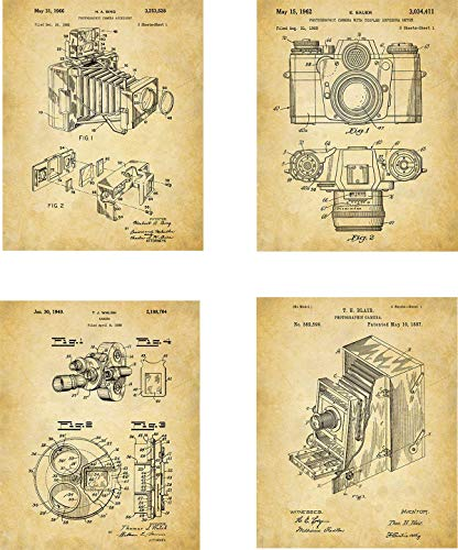 Antique Camera Patent Wall Art Prints - set of Four (8x10) Unframed - wall art decor for photographer (Antique Poster Camera)
