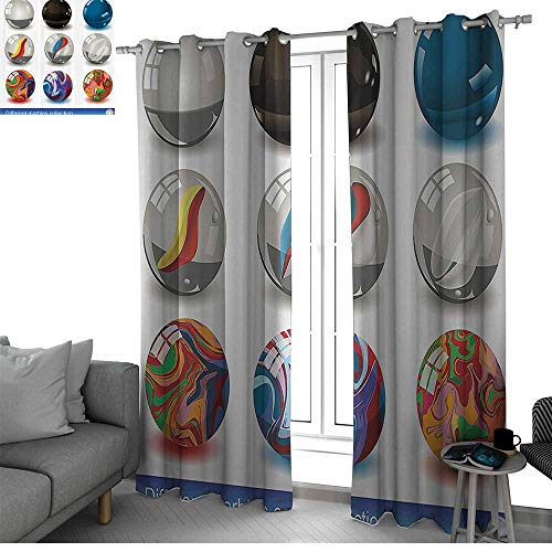 Benmo House Pearls Decoration Sound Asleep Room Curtains Collection of Different Marbles with Glass and Porcelain Materials Like Bubbles Artwork Black Out Window Curtain Multi W84 x L96 Inch