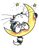 """Penny Black Rubber Stamp 2.5""""X3""""-Cat On The Moon"""