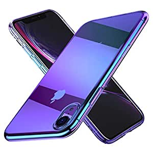 FLOVEME Case Designed for iPhone XR 6.1 inch - Luxury Slim Fit Gradual Change Color Ultra Electroplating Bumper Anti-Drop Hard Back Cover Holder Compatible for iPhone XR (2018) - Purple