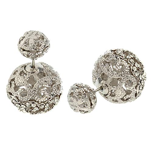 - MISASHA Rhinestone silver plated crystal encrusted rhinestone double ball earrings