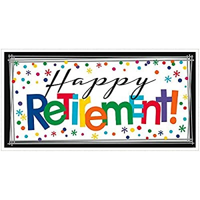 Amscan Fun-Filled Happy Retirement Horizontal Giant Sign Banner, Multi Color, 7 x 10.5 (Value 2-Pack): Home & Kitchen