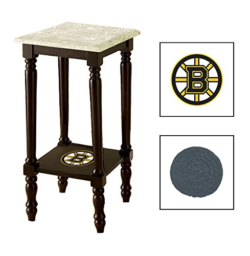 Espresso/Dark Walnut Marble Top Accent Table Featuring the Choice of Your Favorite Sports Team Logo on the Bottom Shelf - FREE Coaster Included (Bruins) by The Furniture Cove