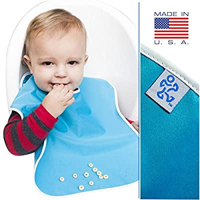 """Toppy Toddlers Cute Waterproof Feeding Bib Set, LARGE Size for Boys and Girls, 5-Pack of Blank Unisex Kids Colors with Snap Buttons, Includes a Cool Wet or Dry Bag for Children (13"""" x 18"""")"""