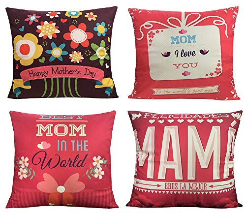 18 x 18 inch Mother's Day Gifts Throw Pillow Cover Decorative Cushion Soft Cover Set of 4 ()