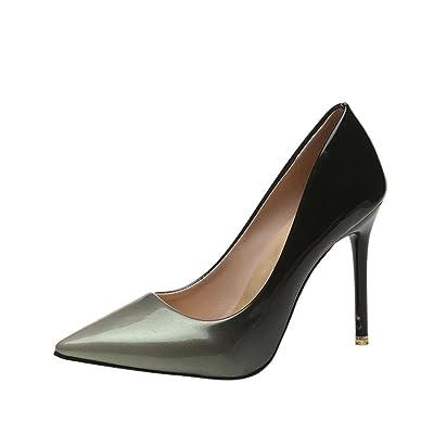 ????✿☀Cuir Verni Pointu Chaussures Talons Hauts????✿☀Lolittas Rouge, Gris Femmes Mode Gradient Couleur Cuir Verni Chaussures Pointu Toe à Talons Hauts (Gris, 38-39)