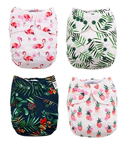 (The Hollywood Hotel 4-Pack Cloth Pocket Diapers with 4 Bamboo Inserts)