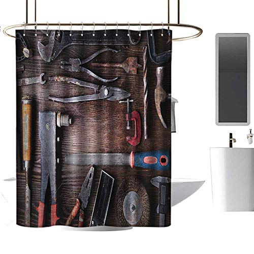 Wixuewu Industrial Decor,Shower Curtains Liner Long,Crafting Equipment Obsolete Dusty Mechanic Tools Collection Carpentry,Shower Curtain for Girls Bathroom,W108 x L72,Multicolor