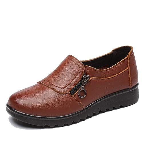 Mocasines De Mujer Zapatos Planos Casuales Plataforma De OtoñO Cremallera Exterior Mocasines con Punta Redonda Calzado: Amazon.es: Zapatos y complementos