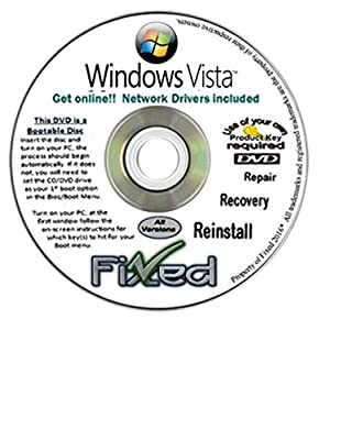 Recovery disc compatible wi/ WINDOWS Vista x64/64 ALL VERSIONS Boot Disc ~Factory Fresh Re-Install~Full Support Included